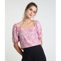 Blusa Feminina Estampada Floral Manga Bufante Decote Reto Rosa