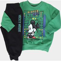 Conjunto Infantil Cativa Disney Mickey Player One Masculino - Masculino-Verde