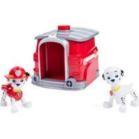 Playset E Figuras - Patrulha Canina - Marshall Com Casinha De Transformação - Sunny - Unissex-Incolor