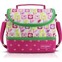 Lancheira Térmica Infantil Com 2 Compartimentos Jacki Design Flor Microfibra Feminina - Feminino-Pink+Verde