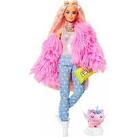 Boneca Barbie Fashionista Extra Jaqueta Felpuda Rosa
