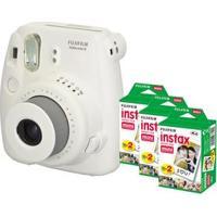 Câmera Instantânea Fujifilm Instax Mini 8 Branca + 3 Filmes Instantâneos Fujifilm Instax Pack Com 20 Unidades Cada