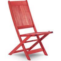 Cadeira Dobrável Gourmet De Madeira Para Piscinas Sem Braços Acqualung+ Stain Vermelho