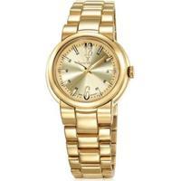 Relógio Jean Vernier Pulseira Aço 10Atm Vidro Cristal Feminino - Feminino-Dourado