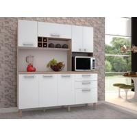 Cozinha Compacta Esmeralda 8 Portas Nogal/Branco - Kits Paraná