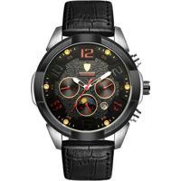 Relógio Tevise T811 Masculino Automático Pulseira De Couro - Preto E Vermelho