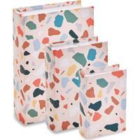 Jogo De Caixas Livro- Rosa Claro & Verde- 3Pã§S- Mart