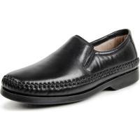 Sapato Social Calprado Couro Confort Masculino - Masculino-Preto