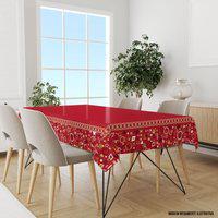 Toalha De Mesa Retangular Para 8 Lugares Elementos Natalinos Vermelho 1.45M X 2.70M Único