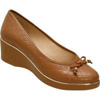 Sapato Anabela Matelass㪠- Marrom- 5,8Cm - Azaleazaleia