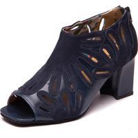Sandalia Feminina Ankle Boot - Marinho / Passiflora 6004 - Kanui
