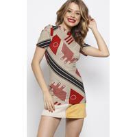 Blusa Canelada Com Tag Da Marca- Bege & Vermelha- Foforum