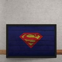 Quadro Decorativo Super Homem Logo Mural Minimalista Dc Comics 25X35