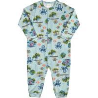 Macacão Para Bebê Estampado Azul
