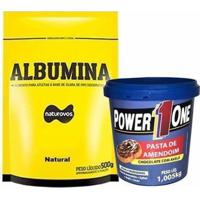 Albumina - 500G Refil Natural + Pasta De Amendoim Chocolate Com Avelã - 1005G - Power One - Unissex