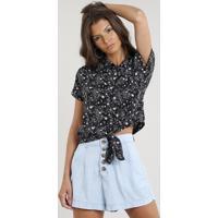 Camisa Feminina Cropped Estampada De Estrelas Com Nó Manga Curta Preta