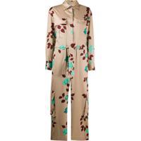 Msgm Floral-Print Cotton Jumpsuit - Neutro