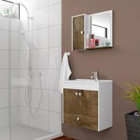 Conjunto Para Banheiro Catar Branco E Madeira Rústica