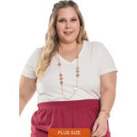 T-Shirt Feminina Plus Size Basica Off White