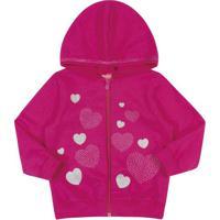Jaqueta Em Moletom Com Capuz- Pink & Prateada- Lecimlecimar