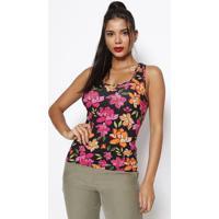 Blusa Floral Canelada- Preta & Pink- Sommersommer