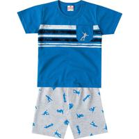 Conjunto De Camiseta + Bermuda Skater- Azul & Cinza-Brandili