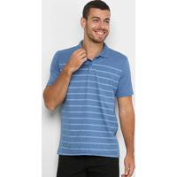 Camisa Polo Burn Listrada Masculina - Masculino-Marinho