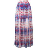 Msgm Long Printed Skirt - Azul