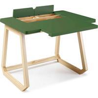 Mesa Para Escritório - Escrivaninha De Madeira Maciça Verde Musgo Hush 94X77,5X73,5Cm - Taeda E Cor Verde Musgo