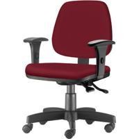 Cadeira Job Com Bracos Assento Crepe Vinho Base Rodizio Metalico Preto - 54608 - Sun House