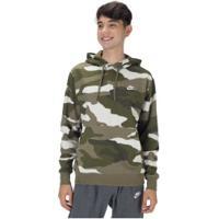 Blusão De Moletom Com Capuz Nike Hoodie Po Bb Camo - Masculino - Verde Esc/Marrom