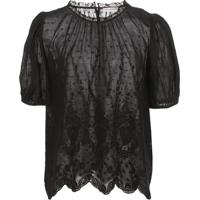 Ulla Johnson Emmie Embroidered Puff-Sleeve Blouse - Preto