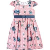 Vestido Floral & Xadrez- Rosa & Azul Marinho- Marisomarisol