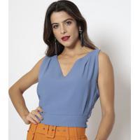 Blusa Com Botões- Azul- Aboutabout