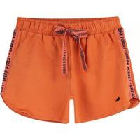 Shorts Laranja Running Em Cotton