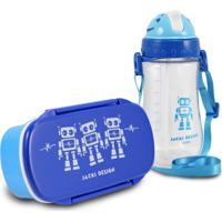 Conjunto Pote Para Lanche E Squeeze Infantil Menino Robo Jacki Design Sapeka Azul Marinho - Kanui