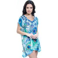 Blusa 101 Resort Wear Saida De Praia Tunica Crepe Estampada Decote V Pena Azul