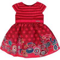 Vestido Momi Manga Curta Barrado Telefones - Feminino-Vermelho