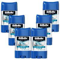 Kit Com 6 Desodorantes Gillette Clear Gel Cool Wave 82G