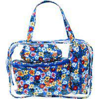 Kit Necessaire Grande Real Arte Floral Azul