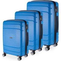 Conjunto 3 Malas De Viagem Londres Em Polipropileno Gosuper Rodinhas Duplas Giro 360º - Unissex-Azul