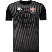 Camisa Kappa Vitória Treino Comissão 2019 Masculina - Masculino-Preto