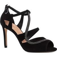 Sandália Couro Shoestock Salto Fino Cristal Feminina - Feminino-Preto