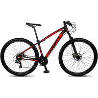 Bicicleta Aro 29 Quadro 19 Alumínio 24V Suspensão Trava Freio Hidráulico Z4-X Preto/Vermelho - Dropp