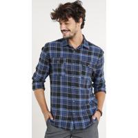 CEA  Camisa Masculina Flanela Estampada Xadrez Com Bolsos Manga Longa Azul  Marinho 484fb6a49b081