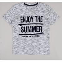"Camiseta Infantil ""Enjoy The Summer"" Manga Curta Cinza Mescla"