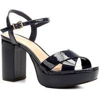 Sandália Shoestock Meia Pata Verniz - Feminino-Marinho