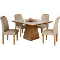Conjunto De Mesa Pietra 0.90M Com Vidro Serigrafado Offwhite Com 4 Cadeiras Pietra Castanho Tecido Veloart Bege Lj Móveis