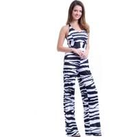 Macacão 101 Resort Wear Jersey Elastano Estampado Animal Zebra Print Branco