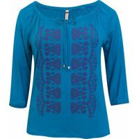 Blusa Pau A Pique 34 Silk - Feminino-Azul Turquesa